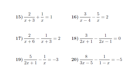 Equations With Algebraic Fractions Worksheet (with Solutions)  A
