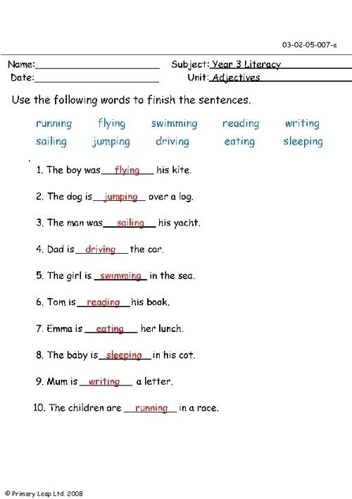 1st Grade Adjective Worksheets To Education