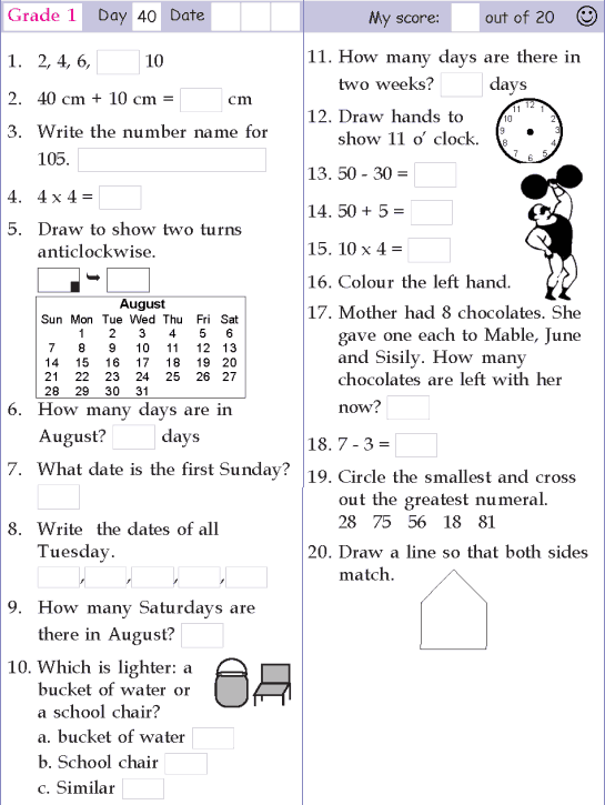 Mental Math Grade 1 Day 40