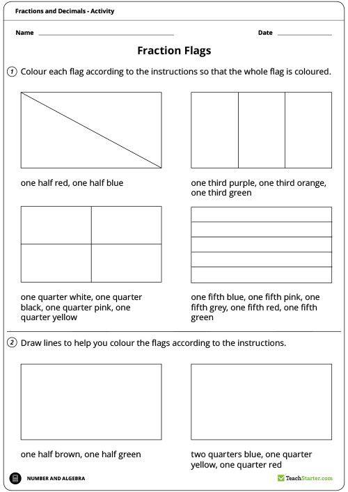 Fraction Flags Worksheet Teaching Resource