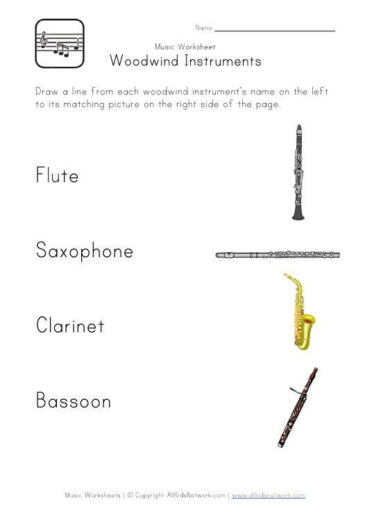 Woodwind Instruments Worksheet