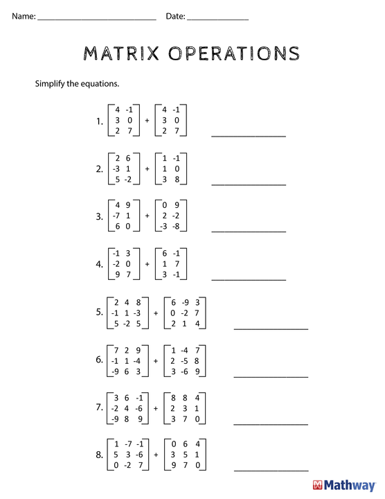 Need Practice With 'matrix Operations'  Print Out This Worksheet
