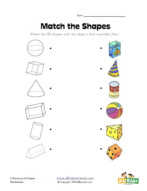 3d Shape Matching Worksheet