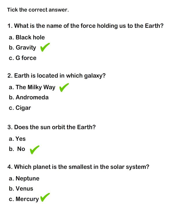 Solar System Worksheet 4