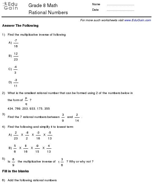 Class 8 Rational Numbers Worksheets