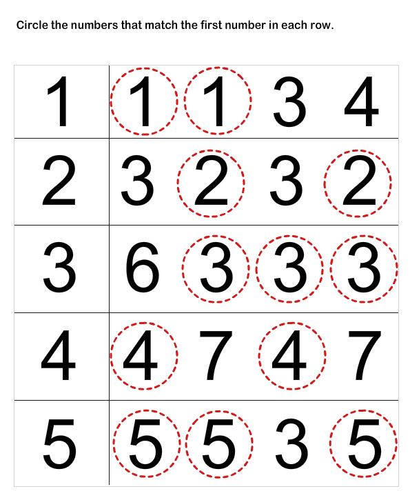 Number Matching Worksheets
