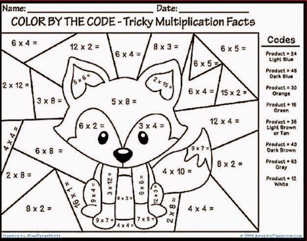 Multiplication Color Sheet