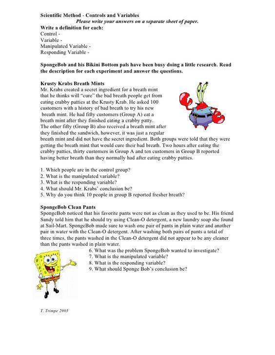 Printables  Spongebob Science Worksheet  Lemonlilyfestival