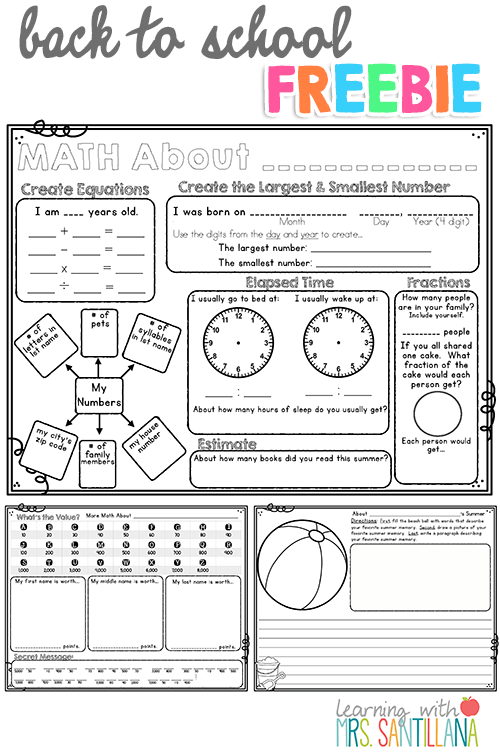 4th Grade Back To School Freebie Math About Me, Writing Activity