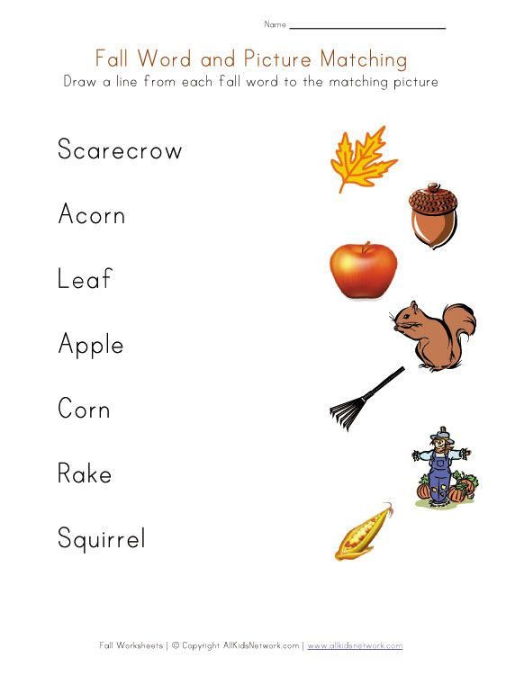 Free Fall Worksheets For Kids