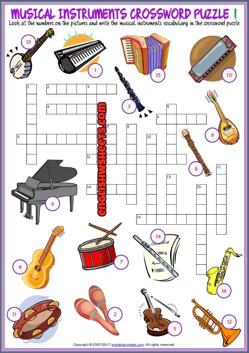 Musical Instruments Crossword Puzzle Esl Worksheets