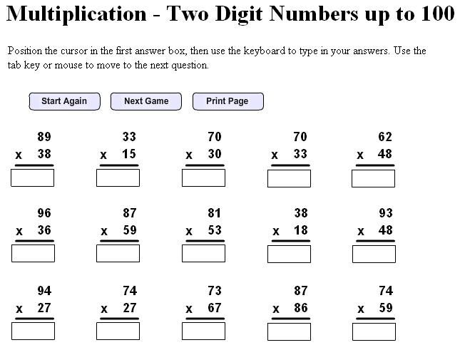 Double Digit Multiplication Worksheets Free