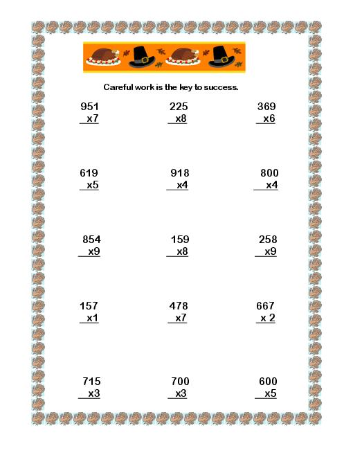 7th Grade Math Thanksgiving Worksheets – Festival Collections