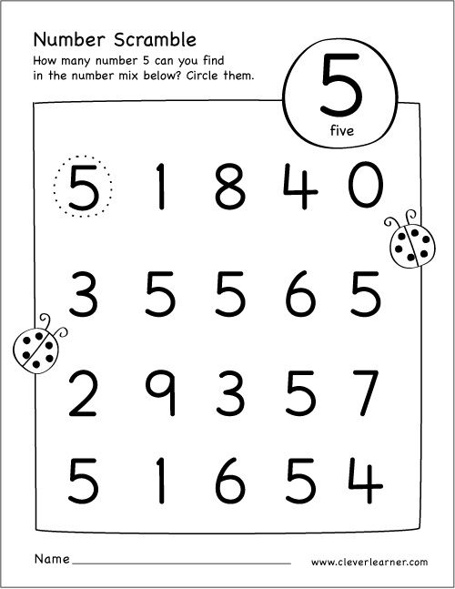 Free Printable Scramble Number Five Activity