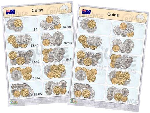 Australian Coins Worksheets