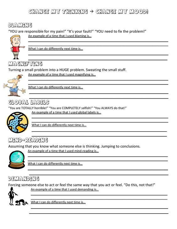 Anger Control Kit  5 Anger Distortions Worksheet