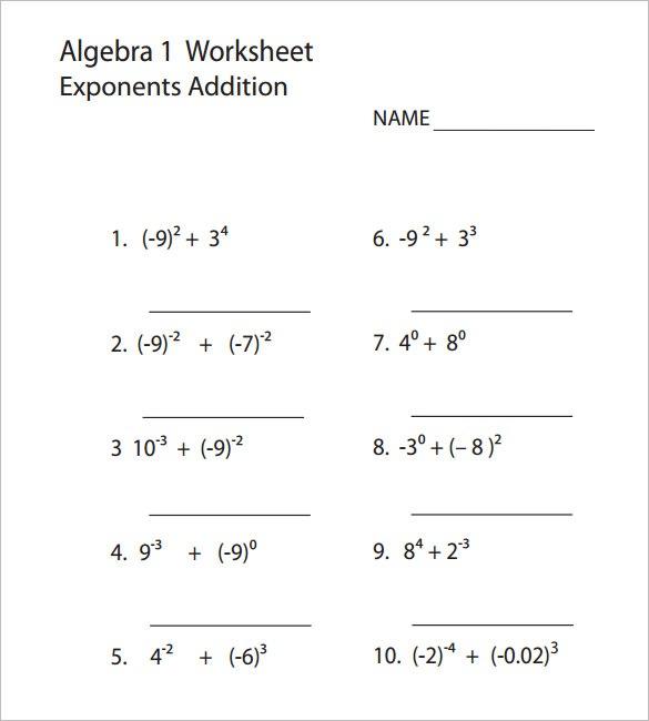 8+ College Algebra Worksheet Templates