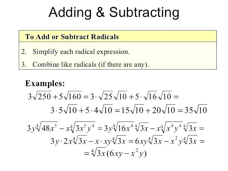 Algebra 2 Simplifying Radical Expressions Worksheet Simplifying