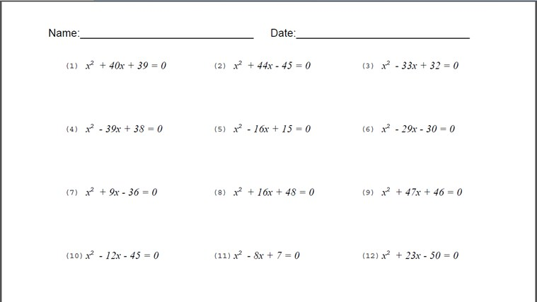 Algebra Problems And Worksheets