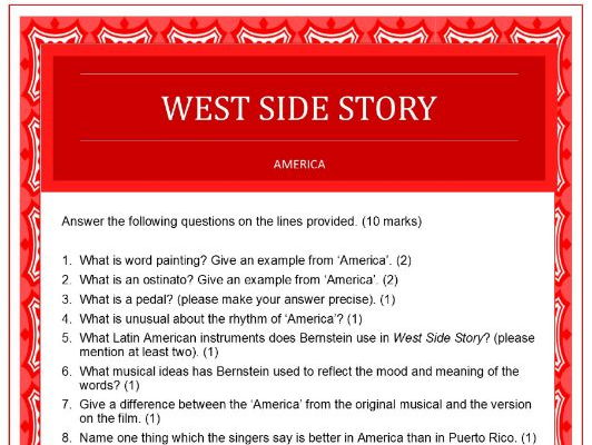 Questions On 'america' From West Side Story By Sparkhallo
