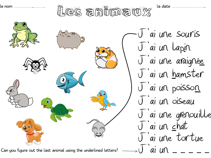 Les Animaux Match Up Worksheet By Emmy91