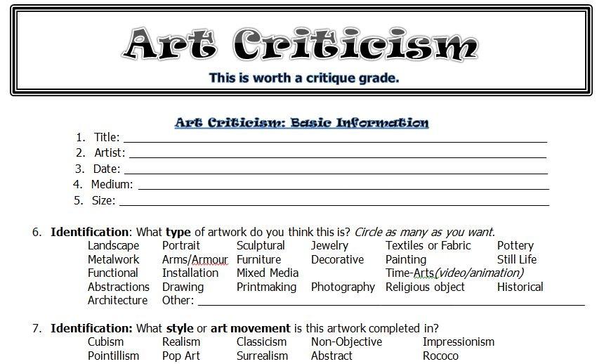 The Smartteacher Resource  Art Criticism Worksheet