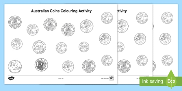 Australian Coins Colouring Activity