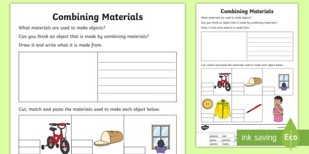 Combining Materials Matching Worksheet   Worksheet
