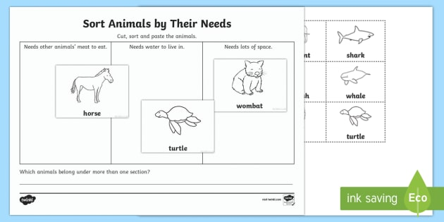 Sort Animals By Their Needs Worksheet   Worksheet