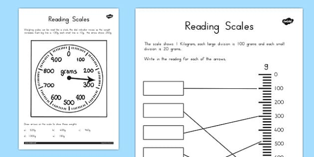 Reading Scales Worksheets