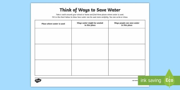 Ways To Save Water Worksheet   Worksheet
