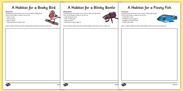 Imaginary Animal Habitat Worksheets