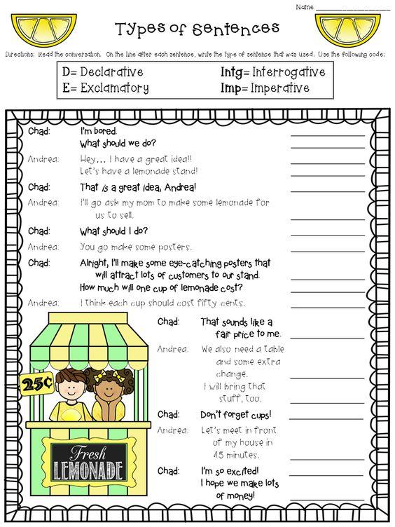 Printables  Kinds Of Sentences Worksheet  Lemonlilyfestival