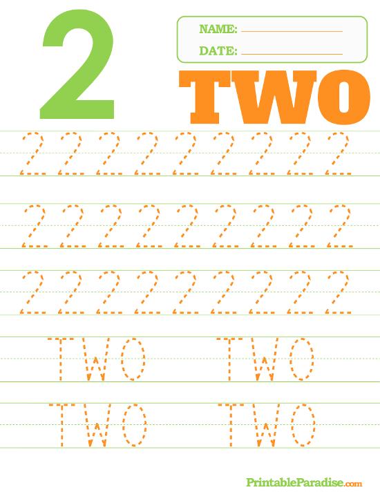 Printable Number 2 Tracing Worksheet