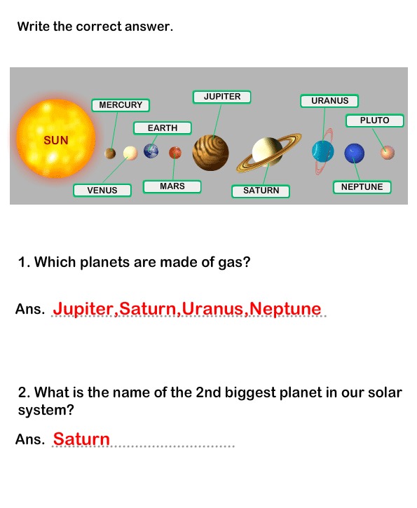 Solar System Worksheet 14