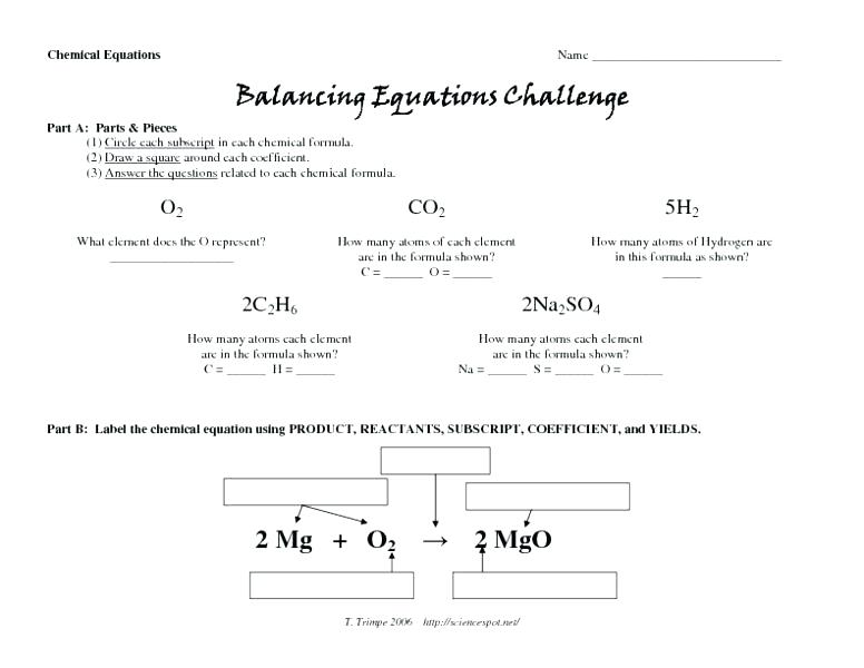 Balancing Equations Worksheet 1 Answers Balancing Equations