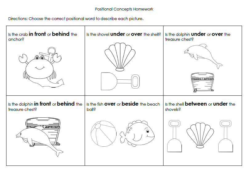 Beach Positional Words Packet
