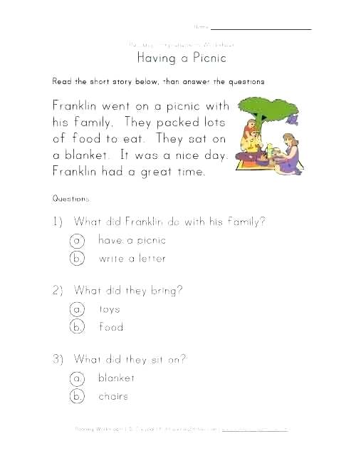 Beginning Reading Worksheets For Kindergarten Comprehension 1