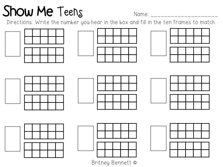 Kindergarten Ten Frame Teen Number Worksheets