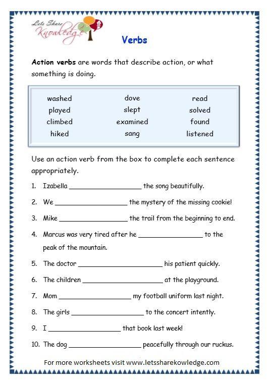 Image Result For Worksheets On Verbs For Grade 3