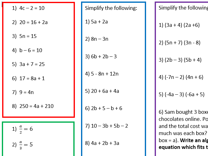 3 Differentiated Algebra Worksheets By Resources_by_emma