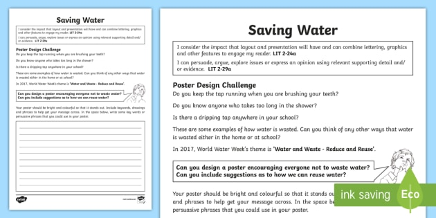 World Oceans Day Design A Save Water Writing Worksheet   Worksheet