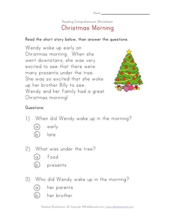 Christmas Reading Worksheet