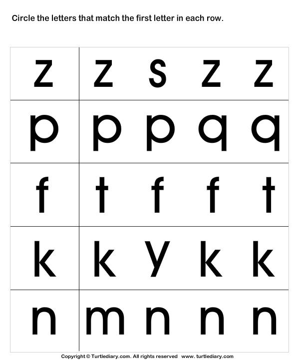 Circle The Matching Letter Z P F K N Worksheet