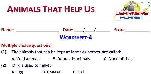 Grade 2 Science Animals That Help Us Worksheets For Kids Tutorials