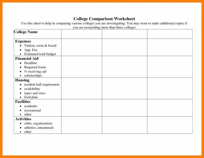 College Comparison Spreadsheet Worksheet Templates Papillonnor