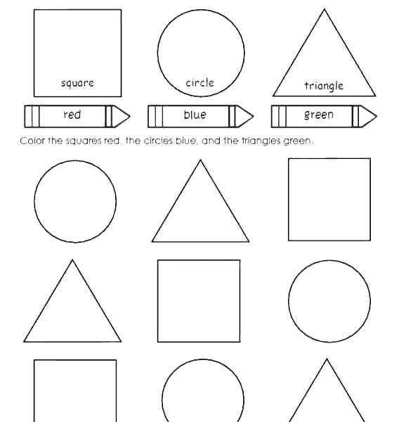 Coloring Shapes Worksheets Pages For Preschoolers Colors And Color