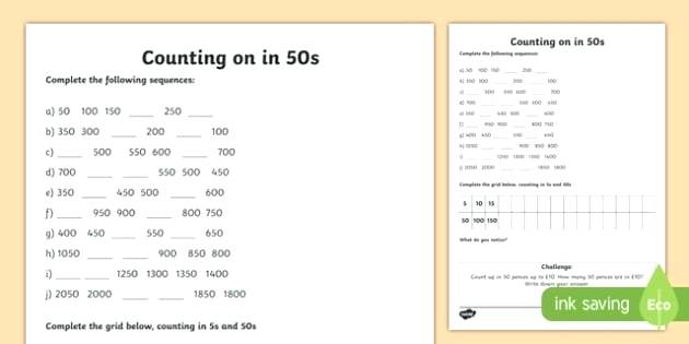 Counting To Worksheets Objects 1 Forwards And Backwards 50