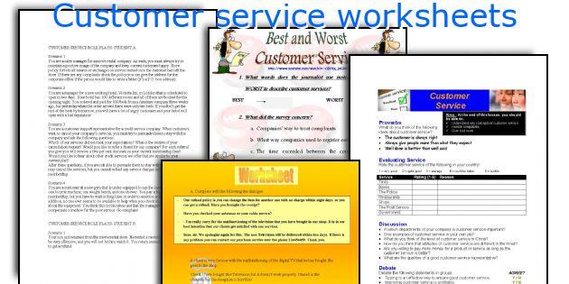 Customer Service Worksheets