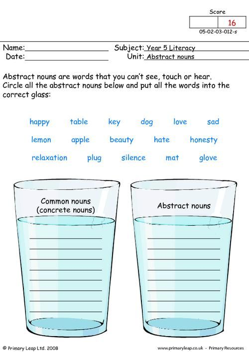 Abstract Nouns Worksheets For 3rd Grade  Concrete And Abstract